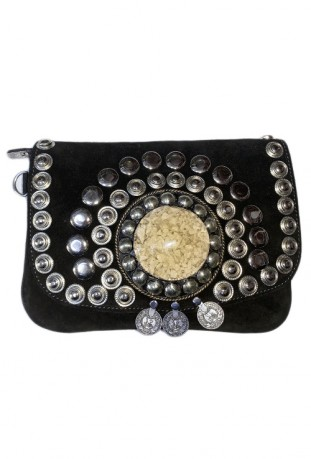 Schwarz Wildlederhandtasche