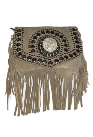 Brown suede leather handbag with fringes