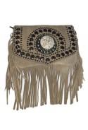Beige suede leather handbag with fringes