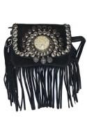 Black suede leather handbag with fringes