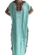 Kaftan Frauen ocean blue Pailletten