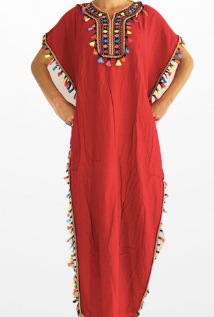 Kaftan Frauen red pompon