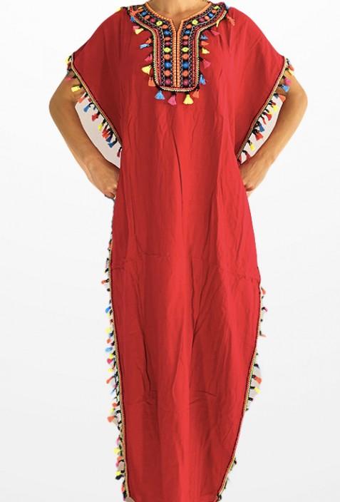 Djellaba red woman with pompon 2019