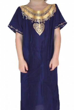 Djellaba enfant violette et or