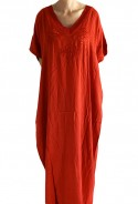 Djellaba woman red embroidered knit