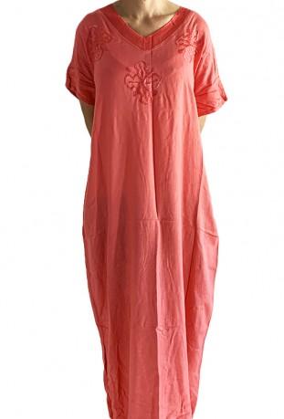 Djellaba femme rose tricot brodée