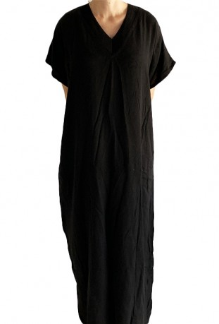 Djellaba woman black embroidered knit