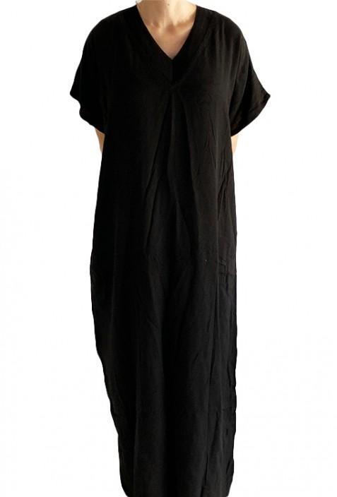 Djellaba woman black embroidered knit