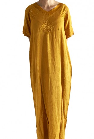 Djellaba femme jaune tricot brodée