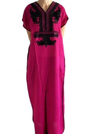 Djellaba woman pink with black sequins