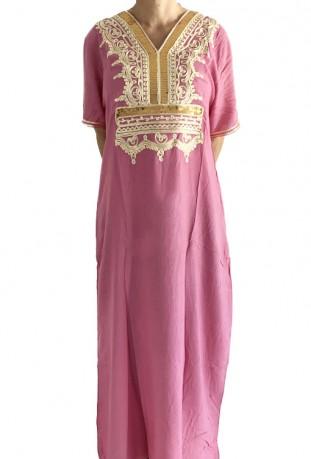 Djellaba femme rose pale à paillettes dorées