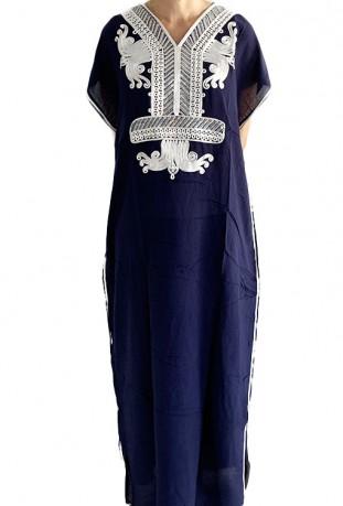 Djellaba femme bleu petrole pale à paillettes argentées