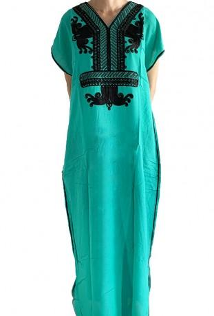 Djellaba femme turquoise à paillettes noires