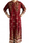 Burgundy Djellaba with long sleeves flowers