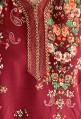Burgundy Djellaba with long sleeves flowers