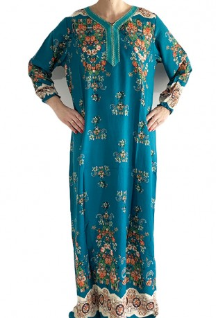 Blue Djellaba with long sleeves flowers