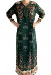 Green Djellaba with long sleeves flowers
