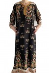 Black Djellaba with long sleeves flowers
