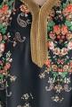 Djellaba negra con flores de manga larga