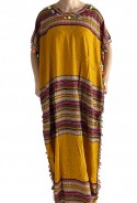 Djellaba woman yellow and gold with tassels