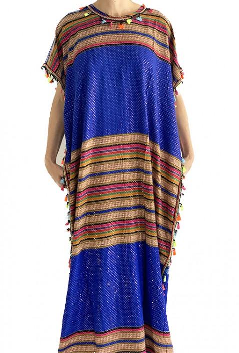 Djellaba femme bleue et or à pompons