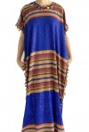 Djellaba woman blue and gold with tassels