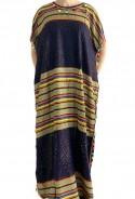 Djellaba mujer azul noche y oro con pompones