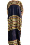 Djellaba midnight blue and gold woman with pompoms