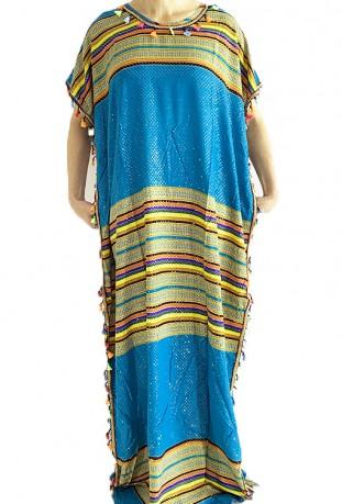 Djellaba femme bleue clair et or à pompons