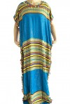 Djellaba mujer azul claro y dorado con pompones