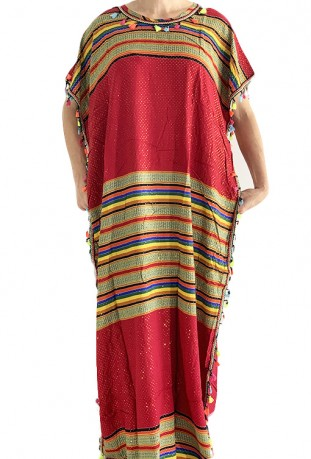 Djellaba woman red and gold with pompoms
