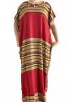 Chilaba mujer roja y dorada con pompones