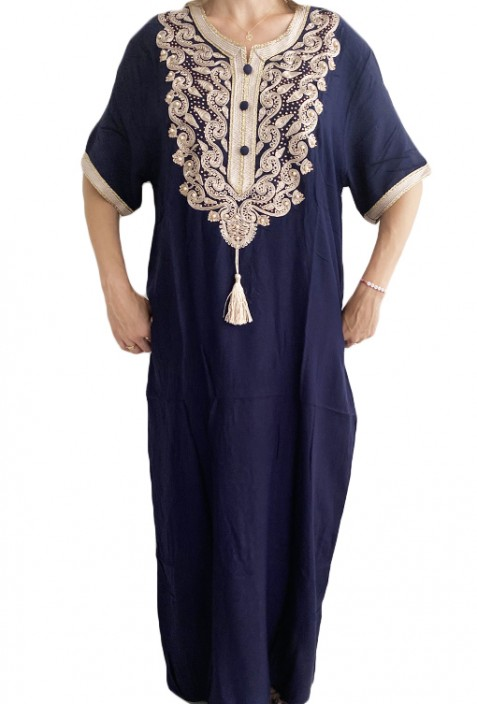 Djellaba woman night blue white embroidery and pearls