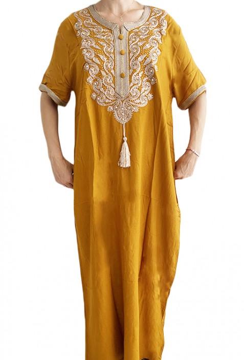 Djellaba femme jaune broderies blanches et perles