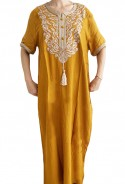 Djellaba woman yellow white embroidery and pearls