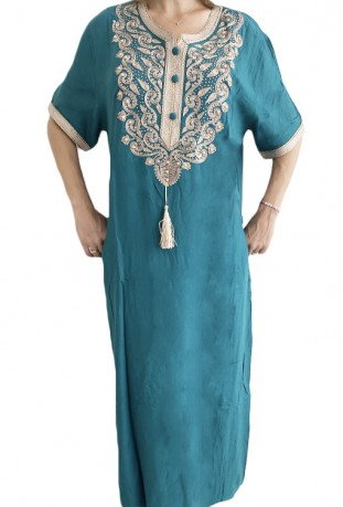 Djellaba femme bleue turquoise broderies blanches et perles
