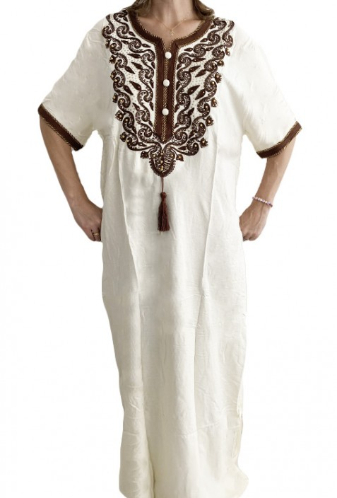 Djellaba white woman with brown embroidery and pearls