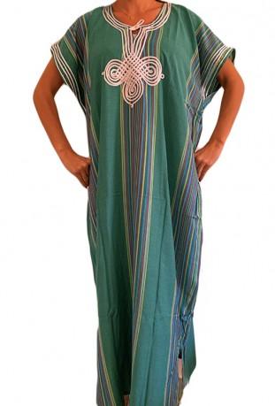 Traditional black djellaba embroidered fabric