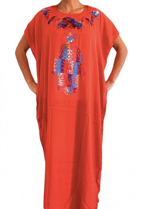 Djellaba femme rouge à paillettes noires