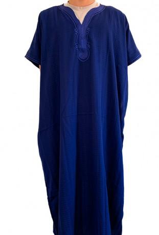 Djellaba Kaftan Mann blauer Satin