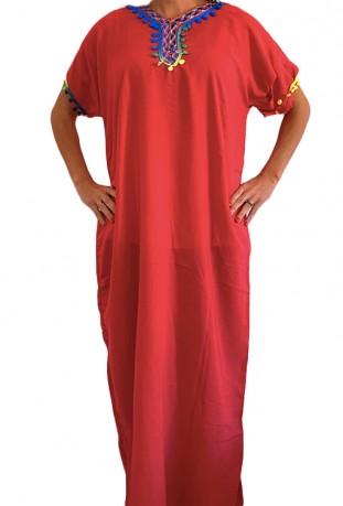 Red woman djellaba with kaftan pompoms