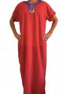 Djellaba femme rouge à pompons kaftan