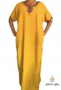 Yellow woman djellaba with kaftan pompoms