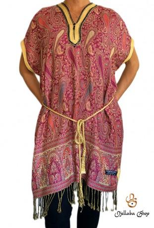 Short pink cashmere Djellaba dress