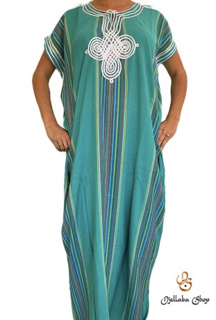Traditional Zagora green djellaba embroidered fabric