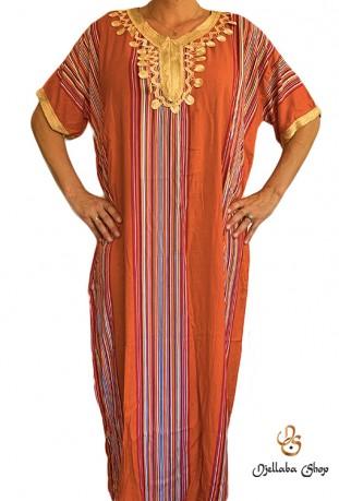 Traditioneller orangefarbener Kaftan Djellaba 2021
