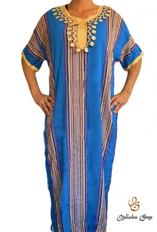 Djellaba traditionnelle 2021 bleue kaftan