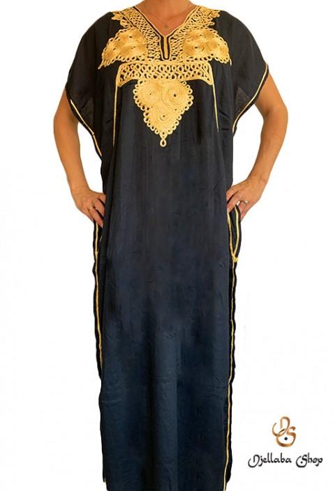 Kaftan noir moderne femme broderies dorées