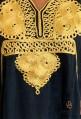 Women's modern black kaftan with golden embroidery