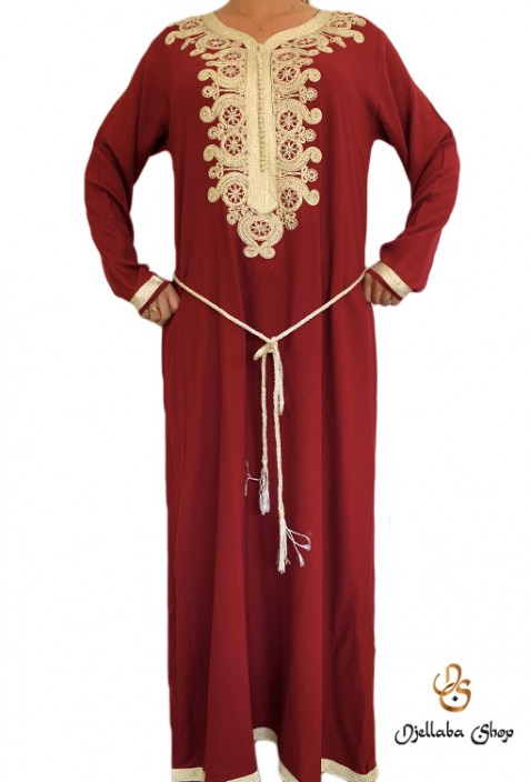 Djellaba woman red white embroidery and pearls